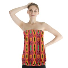 Tribal Shapes In Retro Colors                                  Strapless Top
