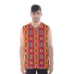 Tribal Shapes In Retro Colors                                 Men s Basketball Tank Top