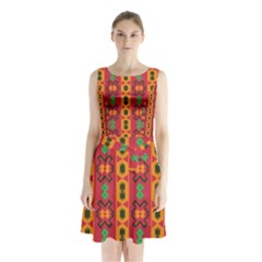 Tribal Shapes In Retro Colors                                     Sleeveless Waist Tie Dress