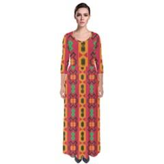 Tribal Shapes In Retro Colors                                   Quarter Sleeve Maxi Dress