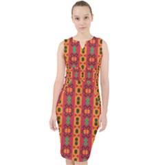 Tribal Shapes In Retro Colors                                   Midi Bodycon Dress