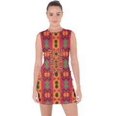 Tribal Shapes In Retro Colors                                     Lace Up Front Bodycon Dress by LalyLauraFLM