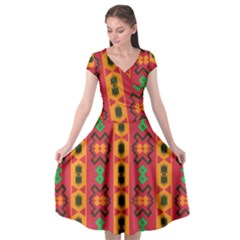 Tribal Shapes In Retro Colors                   Cap Sleeve Wrap Front Dress