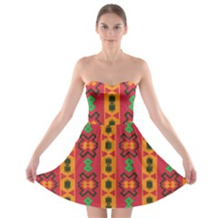 Tribal Shapes In Retro Colors                                 Strapless Bra Top Dress