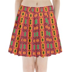 Tribal Shapes In Retro Colors                             Pleated Mini Mesh Skirt