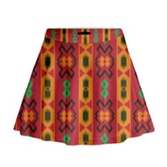 Tribal Shapes In Retro Colors                                   Mini Flare Skirt