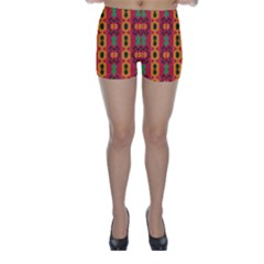 Tribal Shapes In Retro Colors                                 Skinny Shorts