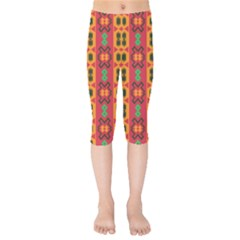 Tribal Shapes In Retro Colors                        Kids  Capri Leggings