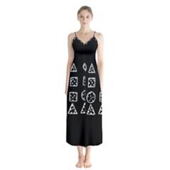 Drawing  Button Up Chiffon Maxi Dress