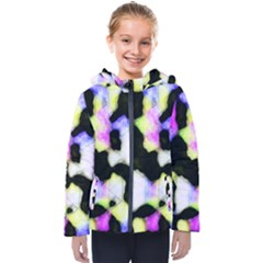 Watercolors Shapes On A Black Background                                 Kids  Hooded Puffer Jacket