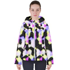 Watercolors Shapes On A Black Background                                 Women s Hooded Puffer Jacket