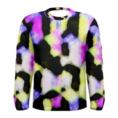 Watercolors Shapes On A Black Background                                  Men Long Sleeve T Shirt