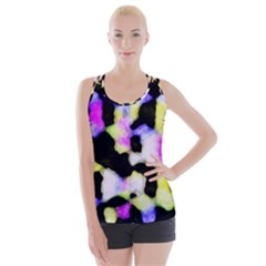Watercolors Shapes On A Black Background                                 Criss Cross Back Tank Top