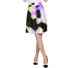 Watercolors Shapes On A Black Background                                  A Line Skater Skirt