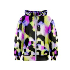 Watercolors Shapes On A Black Background                                  Kids Zipper Hoodie
