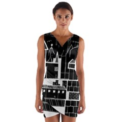 Drawing  Wrap Front Bodycon Dress