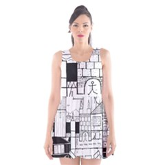 Drawing  Scoop Neck Skater Dress