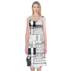 Drawing  Midi Sleeveless Dress