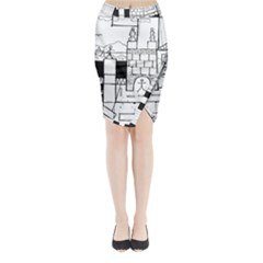 Drawing  Midi Wrap Pencil Skirt