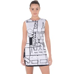 Drawing  Lace Up Front Bodycon Dress