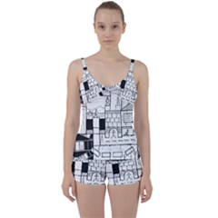 Drawing  Tie Front Two Piece Tankini