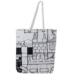 Drawing  Full Print Rope Handle Tote (large)