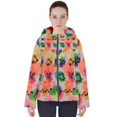 Colorful Spots                                  Women s Hooded Puffer Jacket