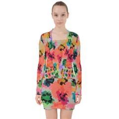 Colorful Spots                                      V Neck Bodycon Long Sleeve Dress