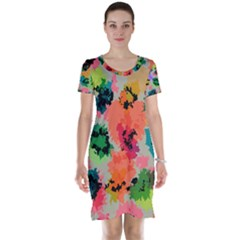 Colorful Spots                                   Short Sleeve Nightdress