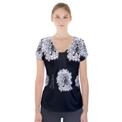 Drawing  Short Sleeve Front Detail Top