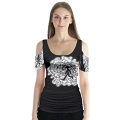 Drawing  Butterfly Sleeve Cutout Tee