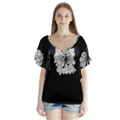 Drawing  V Neck Flutter Sleeve Top