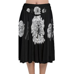 Drawing  Velvet Flared Midi Skirt