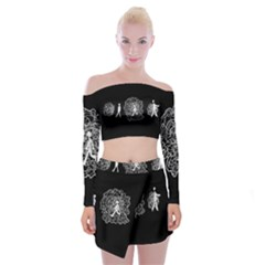 Drawing  Off Shoulder Top With Mini Skirt Set