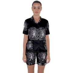 Drawing  Satin Short Sleeve Pyjamas Set