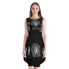 Drawing  Sleeveless Chiffon Dress
