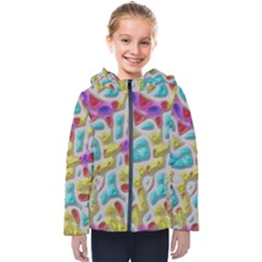 3d Shapes On A Grey Background                                  Kids  Hooded Puffer Jacket