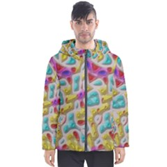 3d Shapes On A Grey Background                                   Men s Hooded Puffer Jacket