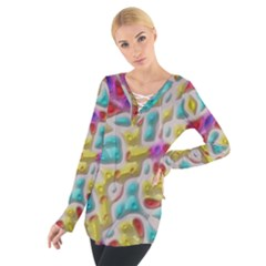 3d Shapes On A Grey Background                                    Women s Tie Up Tee