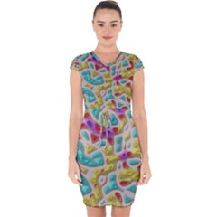 3d Shapes On A Grey Background                          Capsleeve Drawstring Dress