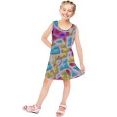 3d Shapes On A Grey Background                                Kid s Tunic Dress