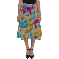 3d Shapes On A Grey Background                                   Perfect Length Midi Skirt
