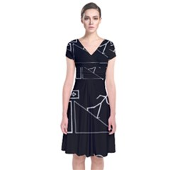 Drawing Short Sleeve Front Wrap Dress