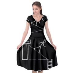 Drawing Cap Sleeve Wrap Front Dress