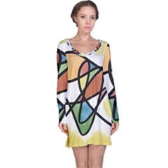 Abstract Art Colorful Long Sleeve Nightdress
