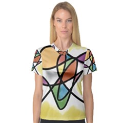 Abstract Art Colorful V Neck Sport Mesh Tee