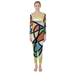 Abstract Art Colorful Long Sleeve Catsuit