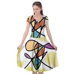 Abstract Art Colorful Cap Sleeve Wrap Front Dress by Modern2018