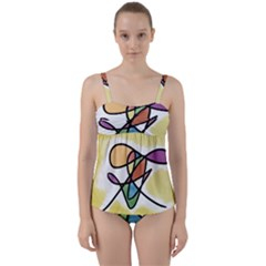 Abstract Art Colorful Twist Front Tankini Set