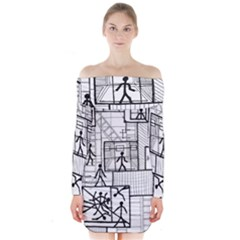 Drawing Long Sleeve Off Shoulder Dress by ValentinaDesign